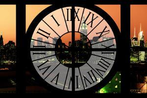 Giant Clock Window - View on the New York Skyline at Dusk III by Philippe Hugonnard