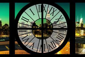Giant Clock Window - View on the New York Skyline at Dusk IV by Philippe Hugonnard