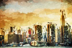 Golden Manhattan - In the Style of Oil Painting by Philippe Hugonnard