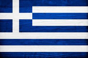 Greece Flag Design with Wood Patterning - Flags of the World Series by Philippe Hugonnard