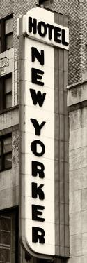 Hotel New Yorker, Signboard, Manhattan, New York, US, Vertical Panoramic View, Sepia Photography by Philippe Hugonnard