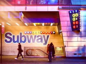 Instants of NY Series - Entrance of a Subway Station in Times Square - Urban Street Scene by Night by Philippe Hugonnard