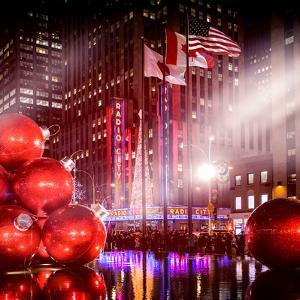 Instants of NY Series - Giant Christmas Ornaments on Sixth Avenue across from Radio City Music Hall by Philippe Hugonnard
