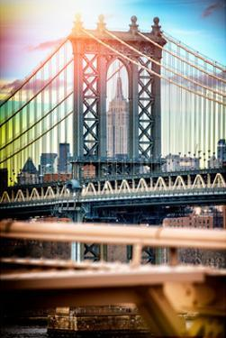 Instants of NY Series - Manhattan Bridge with Empire State Building Center from Brooklyn Bridge by Philippe Hugonnard
