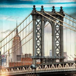 Instants of NY Series - Manhattan Bridge with the Empire State Building from Brooklyn Bridge by Philippe Hugonnard