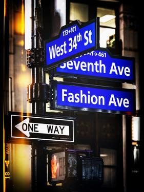 Instants of NY Series - NYC Street Signs in Manhattan by Night - New York by Philippe Hugonnard