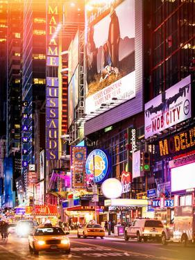Instants of NY Series - NYC Urban Scene with Yellow Taxis by Night - 42nd Street and Times Square by Philippe Hugonnard