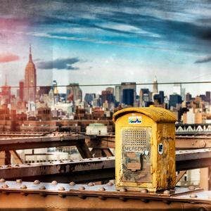 Instants of NY Series - Police Emergency Call Box on Walkway of Brooklyn Bridge by Philippe Hugonnard