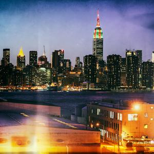 Instants of NY Series - Skyline of the Skyscrapers of Manhattan by Night from Brooklyn by Philippe Hugonnard