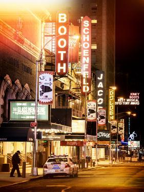 Instants of NY Series - The Booth Theatre at Broadway - Urban Street Scene by Night with a NYPD by Philippe Hugonnard