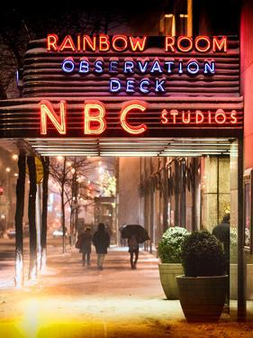 Instants of NY Series - the NBC Studios in the New York City in the Snow at Night by Philippe Hugonnard
