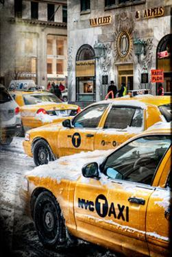 Instants of NY Series - Urban Scene with Yellow Taxis by Philippe Hugonnard