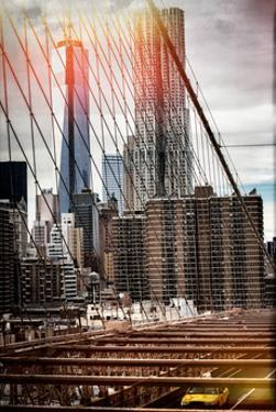 Instants of NY Series - View of Brooklyn Bridge with the One World Trade Center by Philippe Hugonnard