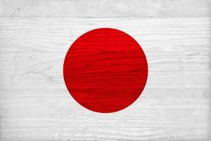 Japan Flag Design with Wood Patterning - Flags of the World Series by Philippe Hugonnard