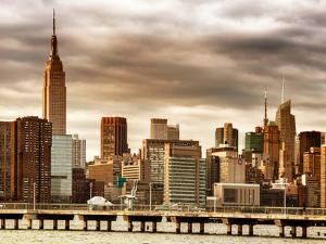 Jetty View with City and the Empire State Building at Sunset by Philippe Hugonnard