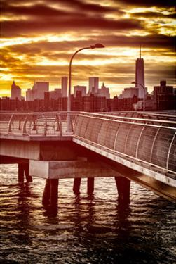 Jetty View with NYC and One World Trade Center (1WTC) at Red Sunset by Philippe Hugonnard