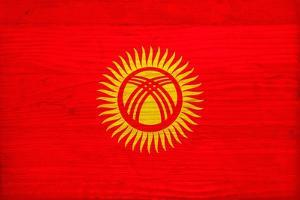 Kyrgyzstan Flag Design with Wood Patterning - Flags of the World Series by Philippe Hugonnard