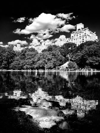 Landscape Mirror, Central Park, Conservatory Water, Manhattan, New York, White Frame