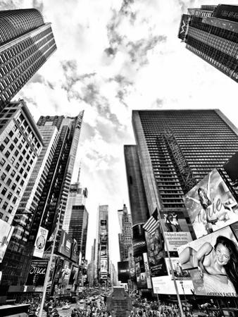 Landscape of Times Square, NYC, Skyscrapers View, Manhattan, NYC, USA, Black and White Photography by Philippe Hugonnard
