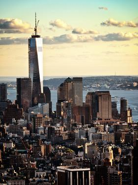 Landscape Sunset View, One World Trade Center, Manhattan, New York, United States, Color Sunset by Philippe Hugonnard
