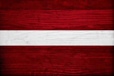 Latvia Flag Design with Wood Patterning - Flags of the World Series
