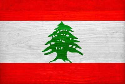 Lebanon Flag Design with Wood Patterning - Flags of the World Series