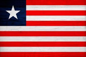 Liberia Flag Design with Wood Patterning - Flags of the World Series by Philippe Hugonnard