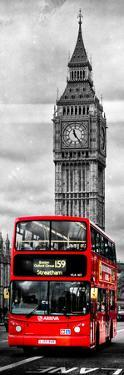 London Red Bus and Big Ben - City of London - UK - England - Photography Door Poster by Philippe Hugonnard