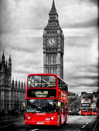 Double Decker Bus Against Big Ben With Art Print Home Decor Wall Art Poster E