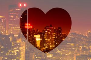 Love NY Series - Cityscape at Red Night with the New Yorker Hotel - Manhattan - New York - USA by Philippe Hugonnard