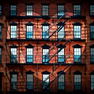 Love NY Series - Facade of Building with Fire Escape - USA by Philippe Hugonnard