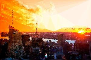 Low Poly New York Art - Amazing Sunset by Philippe Hugonnard
