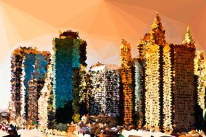 Low Poly New York Art - Architecture at Sunset by Philippe Hugonnard