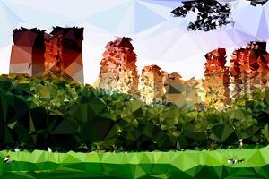 Low Poly New York Art - Central Park Summer II by Philippe Hugonnard