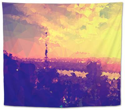 Low Poly New York Art - Golden Sunset by Philippe Hugonnard