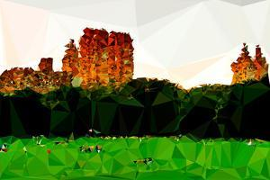 Low Poly New York Art - Green Central Park by Philippe Hugonnard
