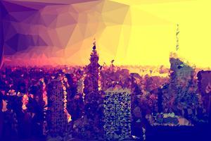 Low Poly New York Art - Manhattan Golden Sunset by Philippe Hugonnard