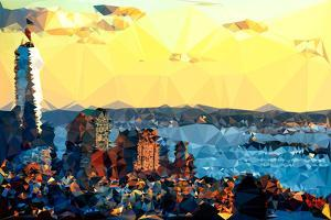 Low Poly New York Art - New York at Dusk by Philippe Hugonnard