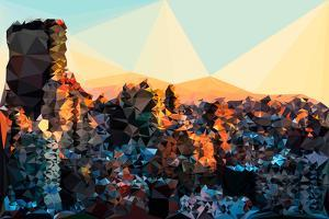 Low Poly New York Art - New York Sunset Pastel by Philippe Hugonnard