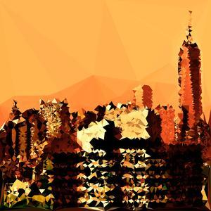 Low Poly New York Art - Orange Skyscrapers by Philippe Hugonnard