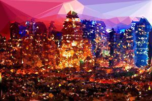 Low Poly New York Art - Rasberry Night by Philippe Hugonnard