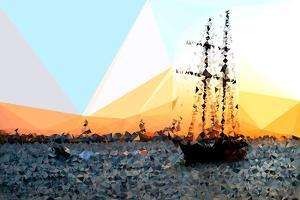 Low Poly New York Art - Sailing Yatch at Sunset by Philippe Hugonnard