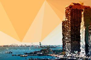 Low Poly New York Art - Sunset Pier by Philippe Hugonnard