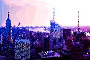 Low Poly New York Art - Sunset Purple by Philippe Hugonnard