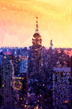 Low Poly New York Art - The Empire State Building at Sunset by Philippe Hugonnard