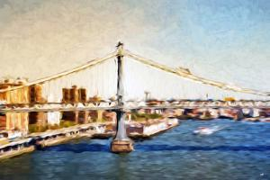 Manhattan Bridge VI - In the Style of Oil Painting by Philippe Hugonnard