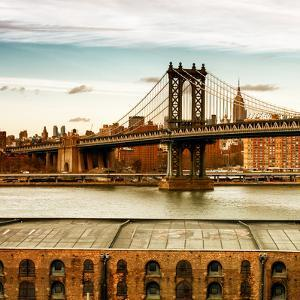Manhattan Bridge with the Empire State Building at Sunset from Brooklyn by Philippe Hugonnard