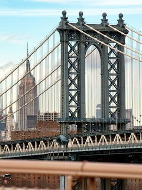 Manhattan Bridge with the Empire State Building from Brooklyn Bridge by Philippe Hugonnard