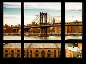 Manhattan Brige with the Empire State Building at Sunset - New York, USA by Philippe Hugonnard