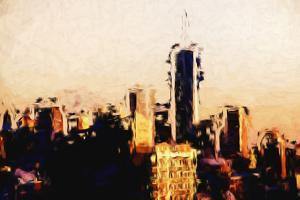 Manhattan Cityscape - In the Style of Oil Painting by Philippe Hugonnard